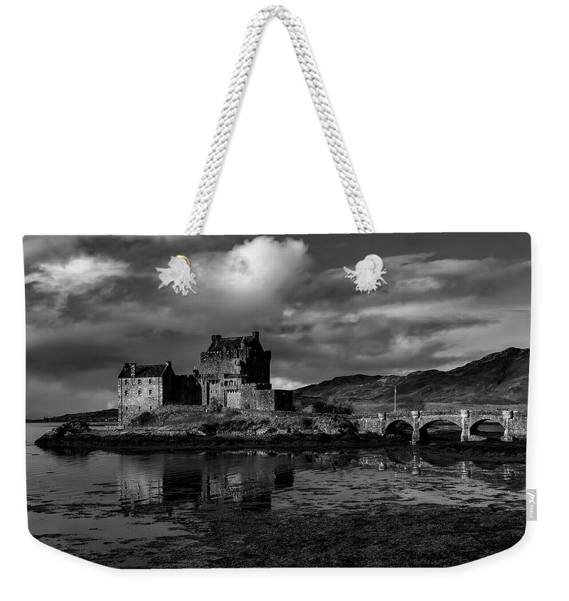 Eilean Donan Castle Weekender Tote Bag featuring the mixed media Eilean Donan Castle by Smart Aviation