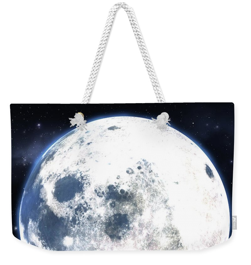 Moon Weekender Tote Bag featuring the digital art Empty Bench And Moon Silhouette by Allan Swart