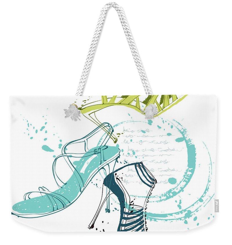 White Background Weekender Tote Bag featuring the digital art Feminine Shoes by Eastnine Inc.