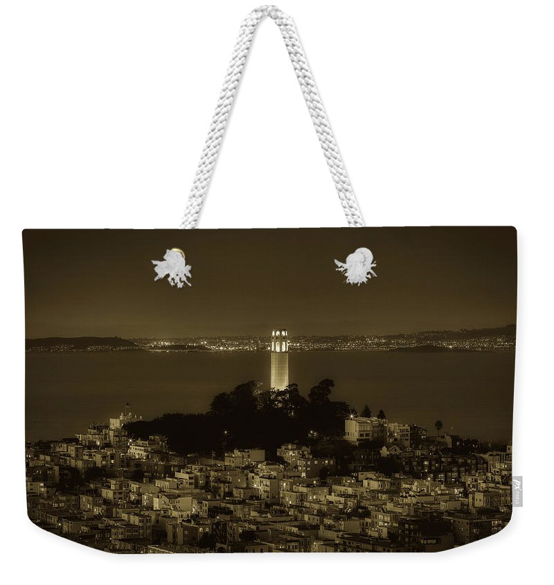 Coit Tower Weekender Tote Bag featuring the photograph Glowing Coit Tower by Mountain Dreams