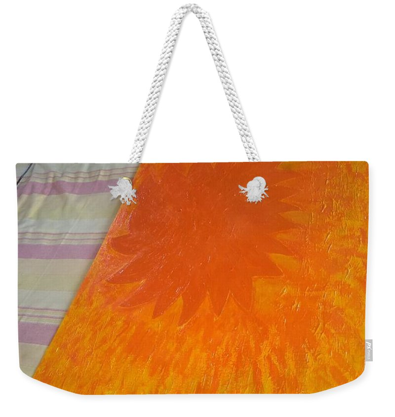Weekender Tote Bag featuring the painting Here Comes The Sun by Nimu Bajaj and Seema Devjani