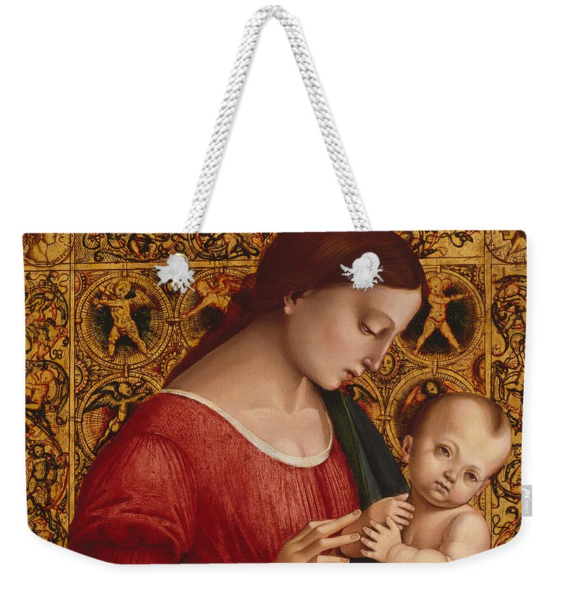 16th Century Art Weekender Tote Bag featuring the painting Madonna And Child by Luca Signorelli