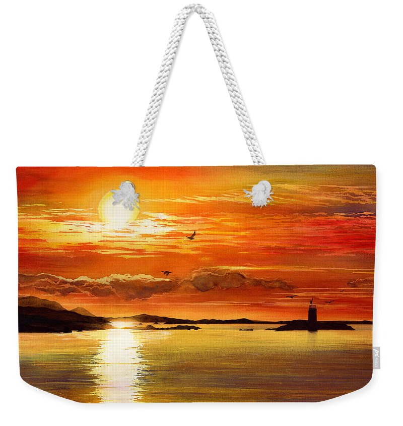 Sunset Weekender Tote Bag featuring the painting Sunset Lake by Hailey E Herrera