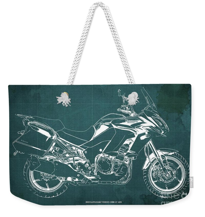 2018 Weekender Tote Bag featuring the digital art 2018 Kawasaki Versys 1000 Lt Abs Blueprint Old Vintage Green Background Original Artwork 2018 by Drawspots Illustrations