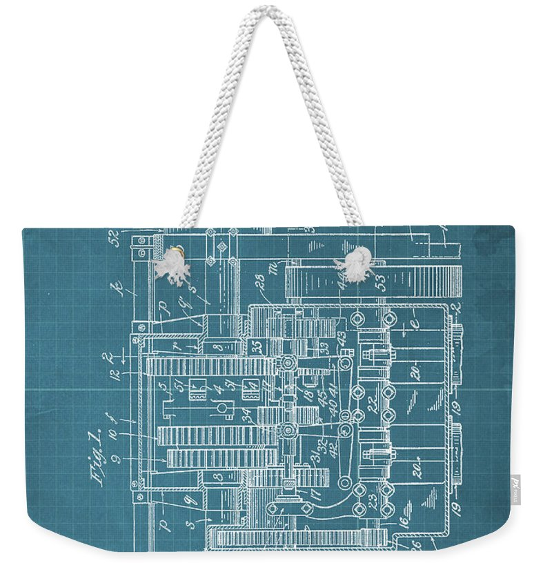 Weekender Tote Bag featuring the drawing Motor Vehicle Patent Colored Vintage Art Print Year 1905 Blueprint 22 by Drawspots Illustrations
