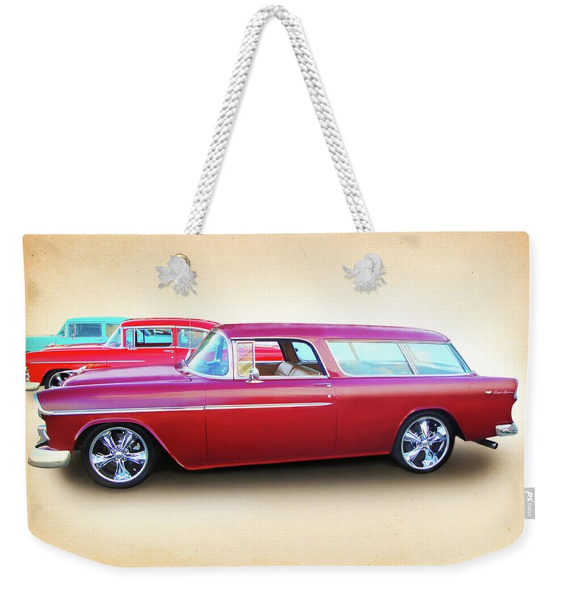 1955 Chevy Weekender Tote Bag featuring the digital art 3 - 1955 Chevy's by Rick Wicker
