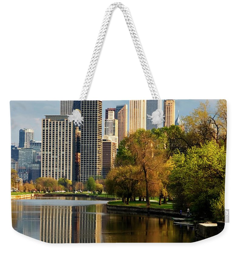 Chicago River Weekender Tote Bag featuring the photograph Chicago, Il by Adam Jones