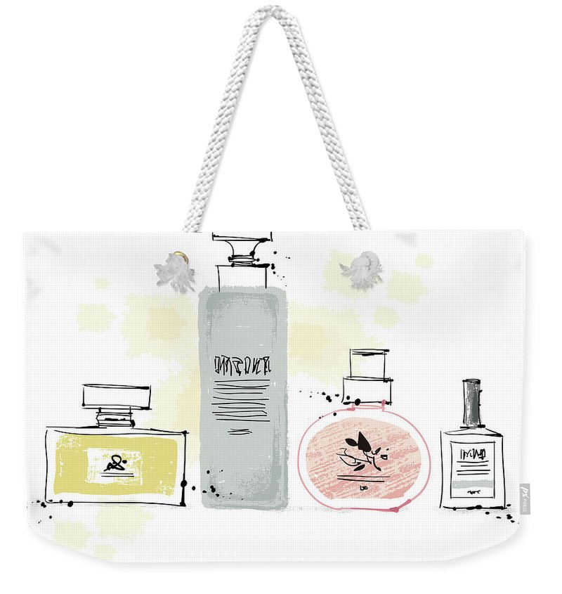 White Background Weekender Tote Bag featuring the digital art Cosmetics by Eastnine Inc.