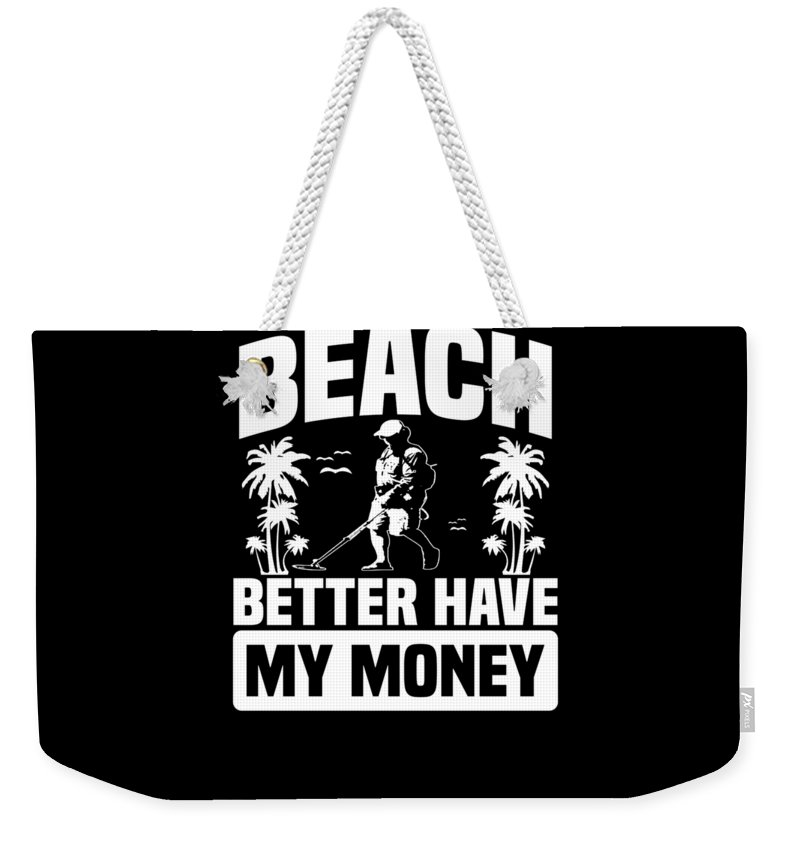 Beach-dig Weekender Tote Bag featuring the digital art Metal Detector Beach Sweep Beep Dig Apparel by Michael S