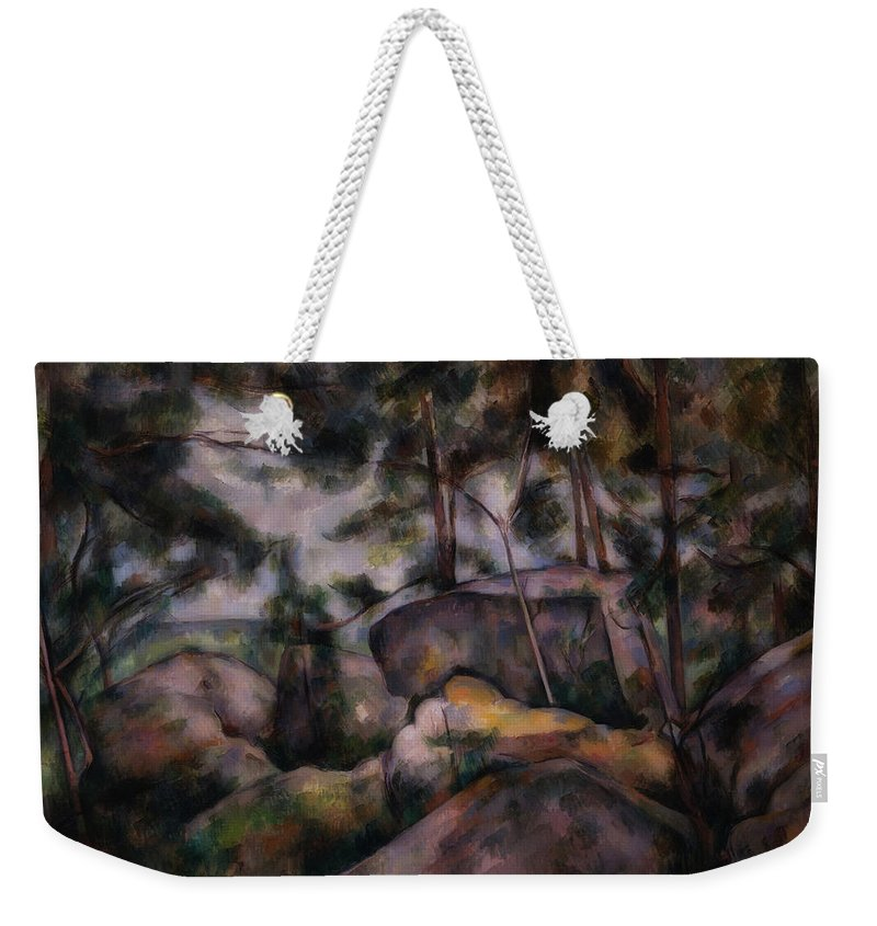 Paul Cezanne Weekender Tote Bag featuring the painting Rocks In The Forest by Paul CEzanne