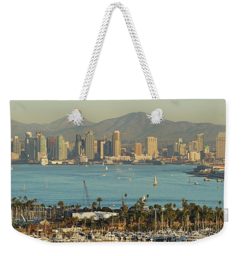 Downtown District Weekender Tote Bag featuring the photograph San Diego Skyline by S. Greg Panosian
