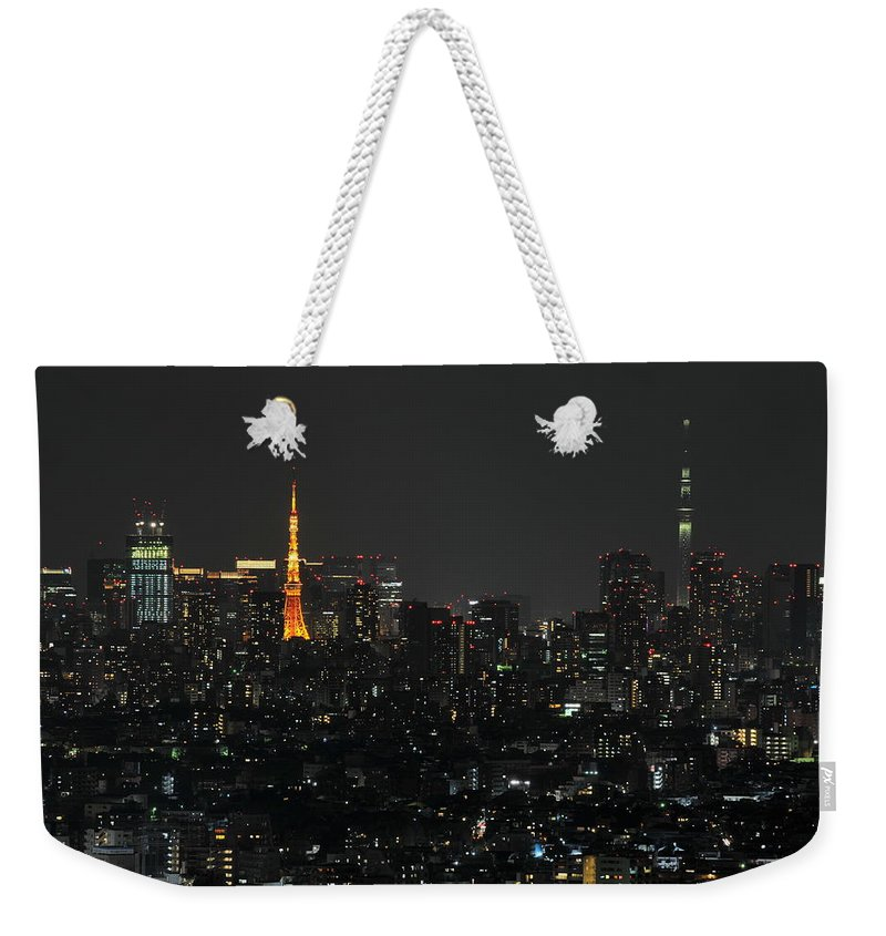 Tokyo Tower Weekender Tote Bag featuring the photograph Tokyo Tower And Tokyo Skytree by Masakazu Ejiri