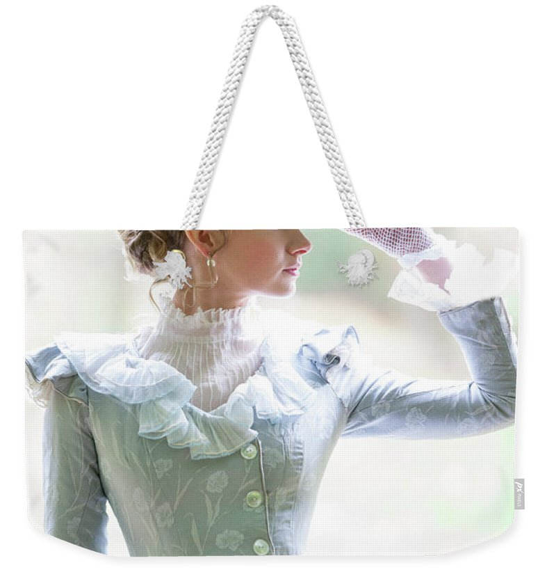 Victorian Weekender Tote Bag featuring the photograph Victorian Woman In The Garden by Lee Avison