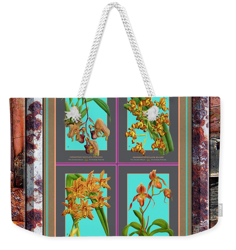 Vintage Weekender Tote Bag featuring the painting Antique Orchids Quatro On Rusted Metal And Weathered Wood Plank by Baptiste Posters