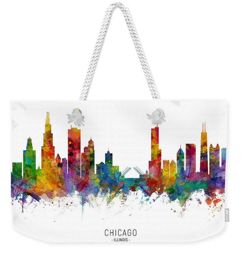 Chicago Weekender Tote Bag featuring the digital art Chicago Illinois Skyline 37 by Michael Tompsett