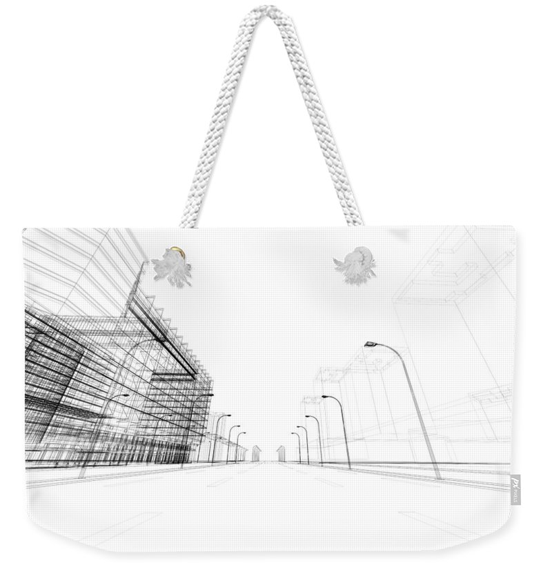 Three Dimensional Weekender Tote Bag featuring the photograph 3d Architecture Abstract by Nadla