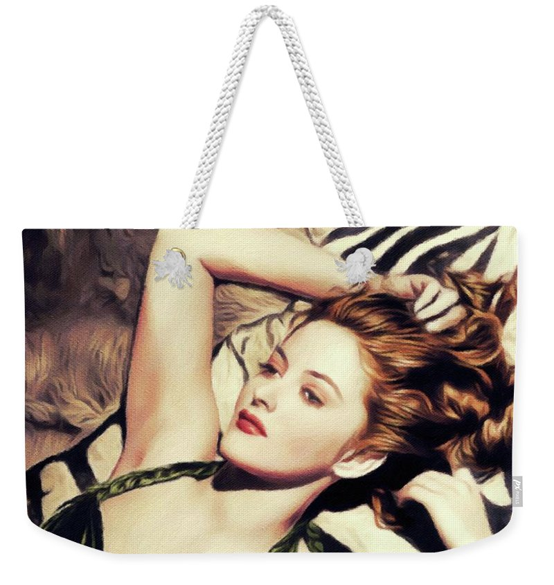 Martha Weekender Tote Bag featuring the painting Martha Vickers, Vintage Actress And Pinup by John Springfield