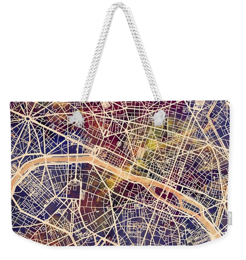 Paris Weekender Tote Bag featuring the digital art Paris France City Map by Michael Tompsett