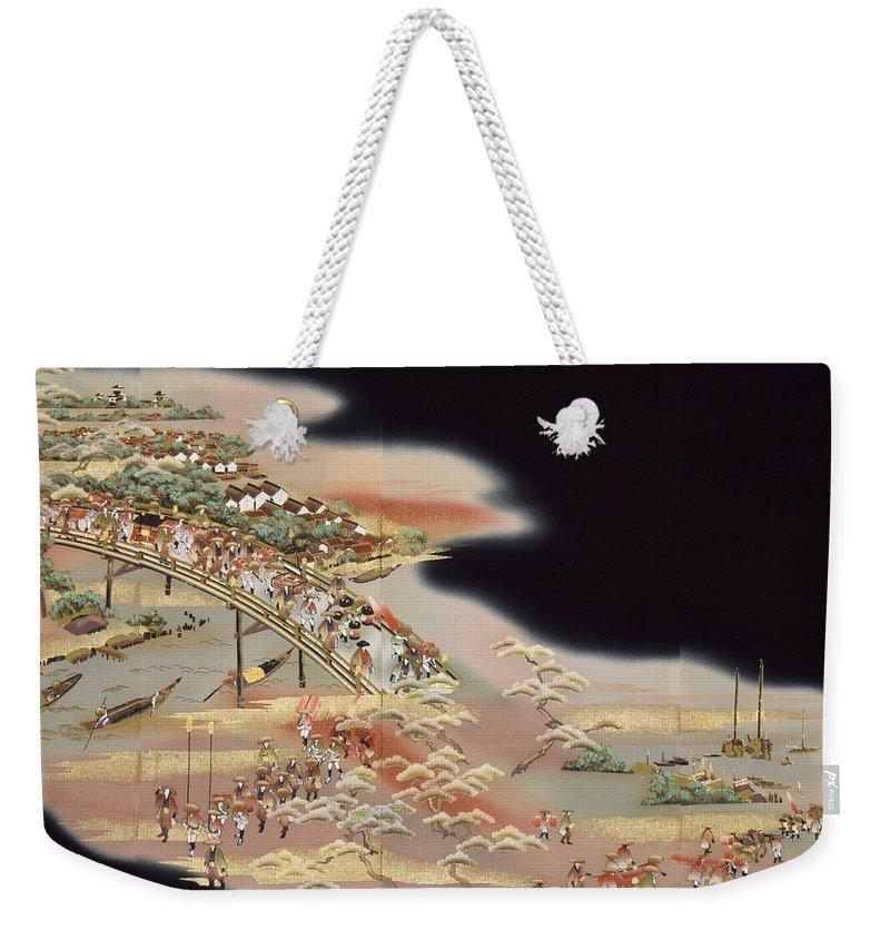 Weekender Tote Bag featuring the digital art Spirit of Japan T84 by Miho Kanamori