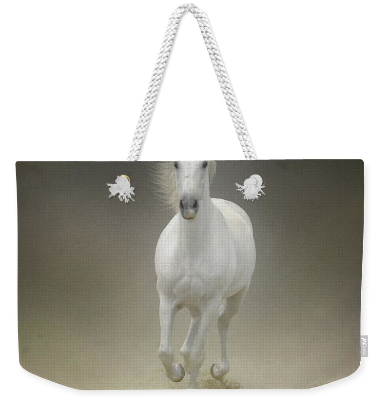 Horse Weekender Tote Bag featuring the photograph White Horse Galloping by Christiana Stawski