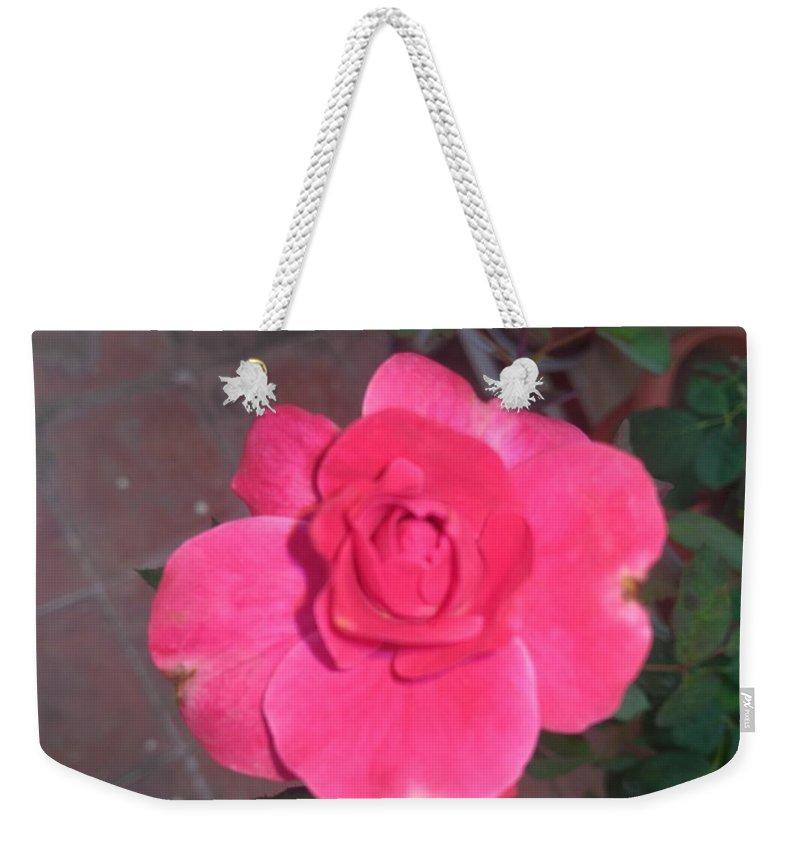 Weekender Tote Bag featuring the photograph Pink Rose by Nimu Bajaj and Seema Devjani