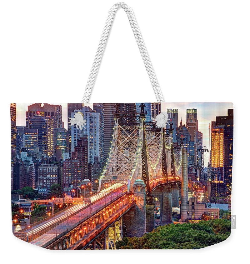 Architectural Column Weekender Tote Bag featuring the photograph 59th Street Bridge by Tony Shi Photography