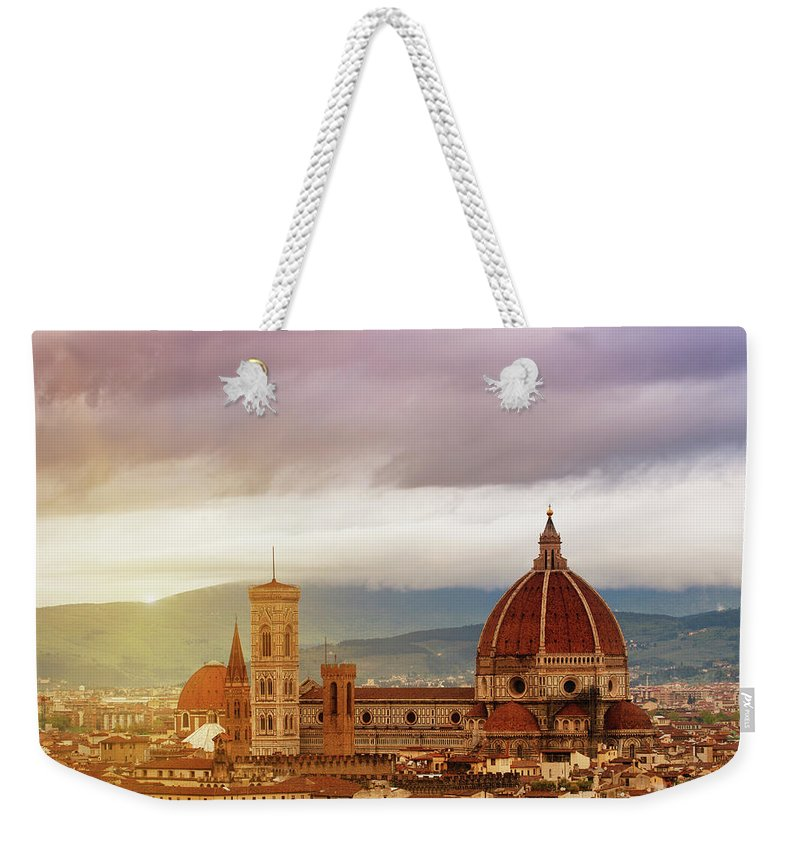 Palazzo Vecchio Weekender Tote Bag featuring the photograph Florence, Santa Maria Del Fiore by Deimagine