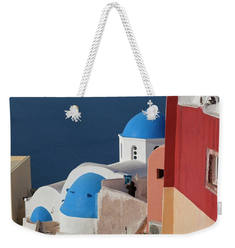 Tranquility Weekender Tote Bag featuring the photograph Oia, Santorini, Cyclades Islands, Greece by Peter Adams
