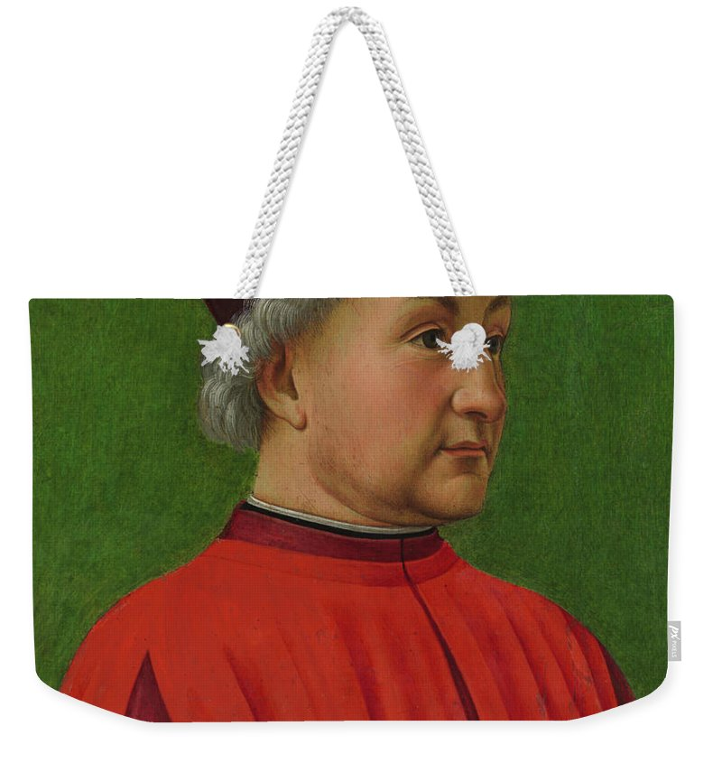 Ghirlandaio Weekender Tote Bag featuring the painting Portrait Of A Man by Domenico Ghirlandaio