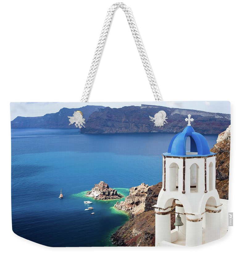 Greek Culture Weekender Tote Bag featuring the photograph Santorini, Greece by Traveler1116