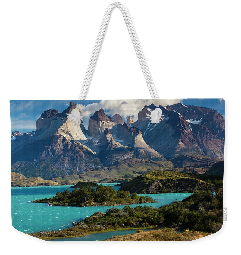 Scenics Weekender Tote Bag featuring the photograph Chile, Torres Del Paine National Park by Walter Bibikow