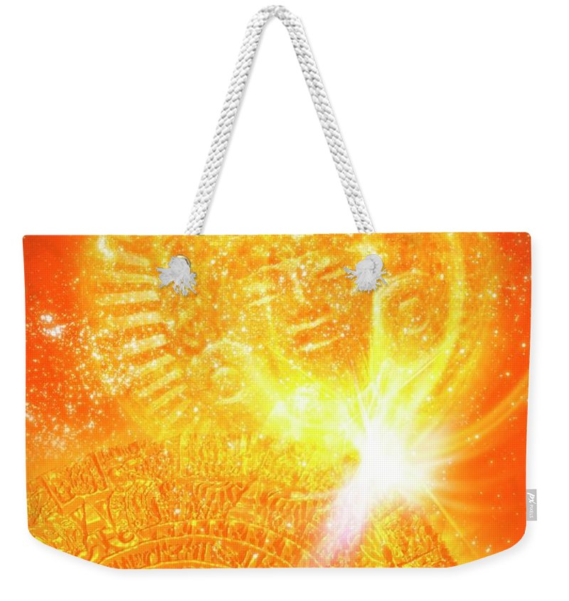 Good Luck Charm Weekender Tote Bag featuring the digital art Aztec Sun Stone, Artwork by Victor Habbick Visions