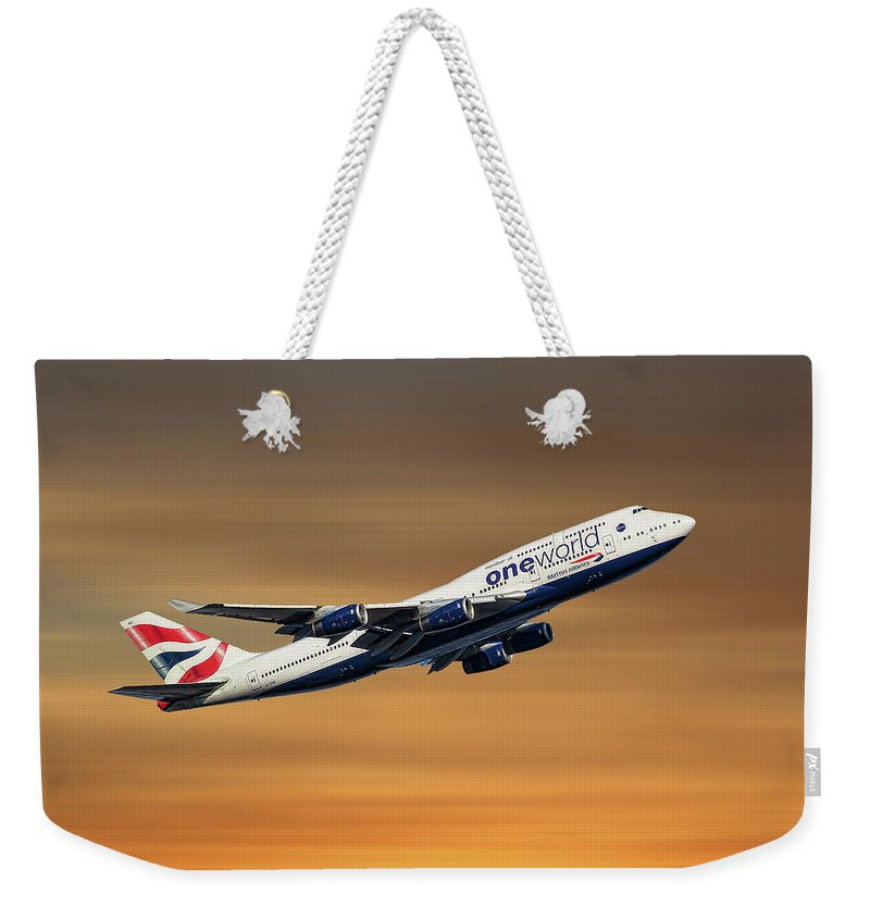 British Weekender Tote Bag featuring the mixed media British Airways Boeing 747-436 by Smart Aviation