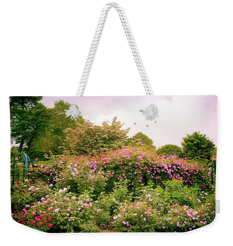 New York Botanical Garden Weekender Tote Bag featuring the photograph Rose Garden Greeting by Jessica Jenney