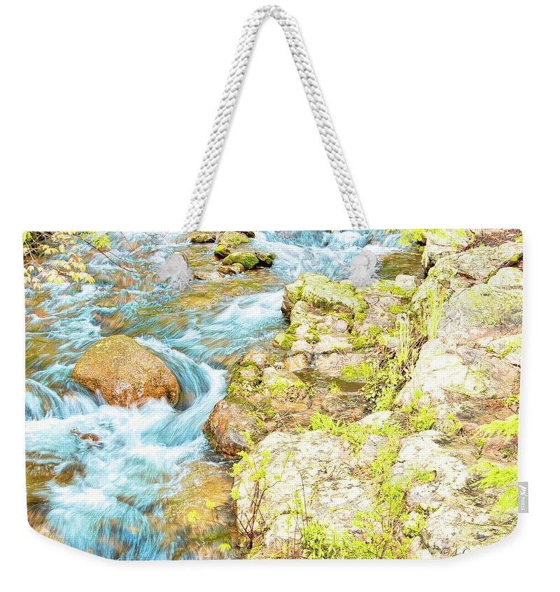 Mountain Stream Weekender Tote Bag featuring the photograph Pocono Mountain Stream, Pennsylvania by A Gurmankin