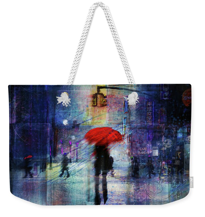 Snow Weekender Tote Bag featuring the digital art A Christmas In The City by Tim Palmer