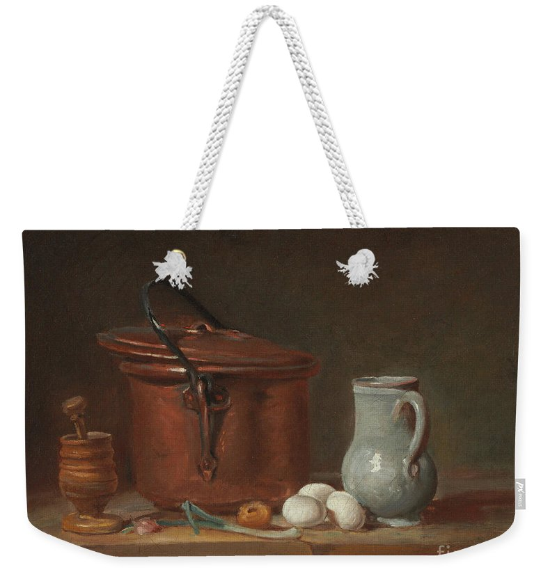 A Copper Saucepan Weekender Tote Bag featuring the painting A Copper Saucepan, A Pestle And Mortar, A Pitcher, A Scallion, Eggs And An Onion On A Shelf by Jean-Baptiste Simeon Chardin
