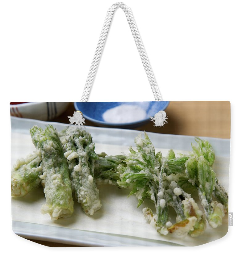 Crockery Weekender Tote Bag featuring the photograph A Japanese Dish Of Wild Plants by Ryouchin