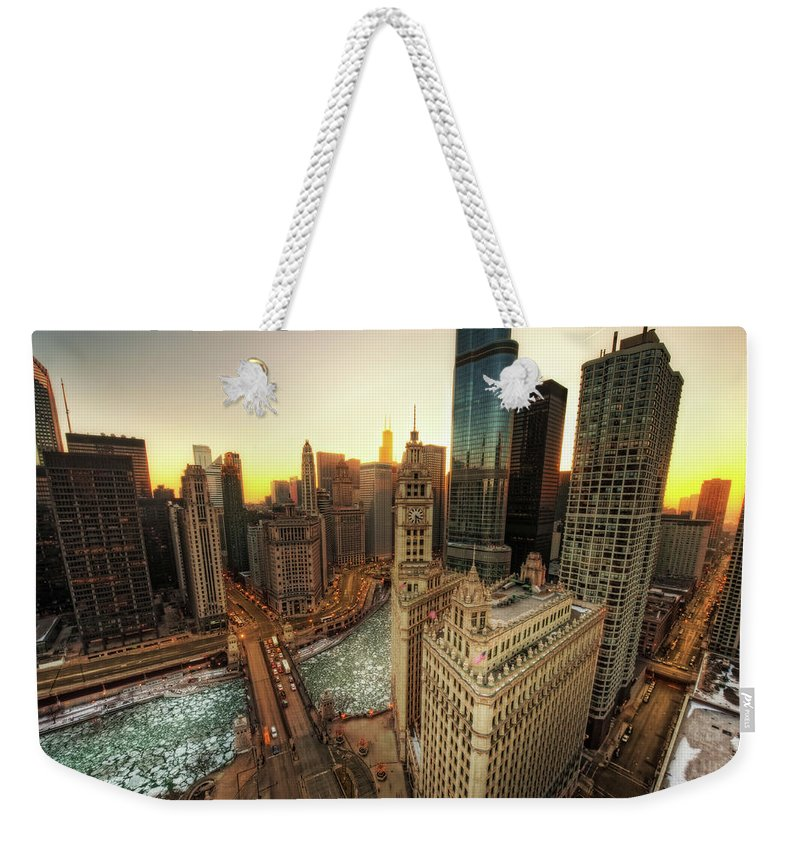 Chicago River Weekender Tote Bag featuring the photograph A Long Sunset In The Emerald City by Justin W. Kern