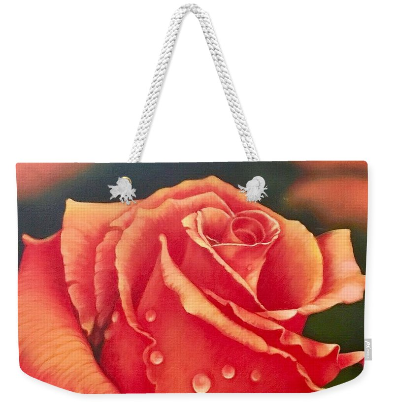 Single Rose Weekender Tote Bag featuring the painting A Single Rose by Daniel Melendez