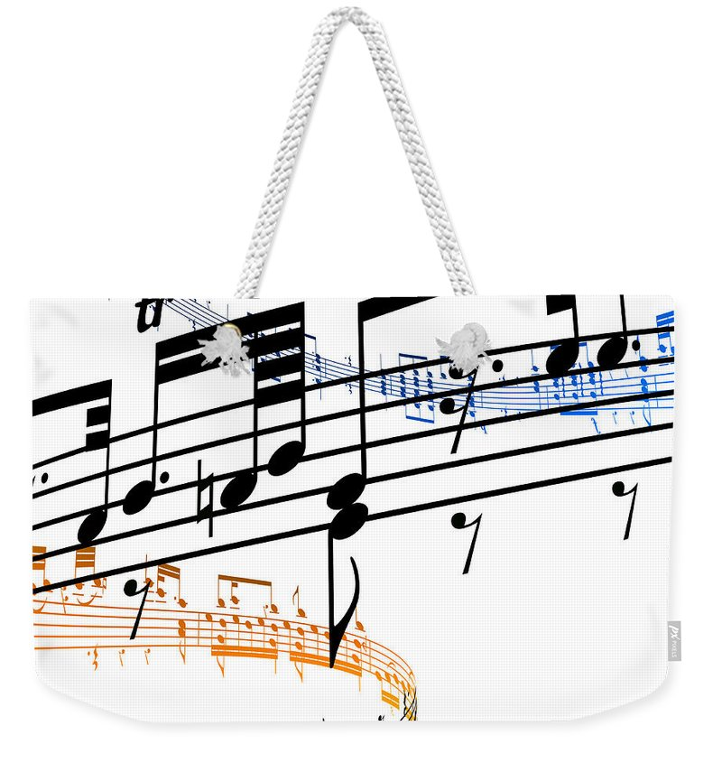 Sheet Music Weekender Tote Bag featuring the digital art A Stave Of Music by Ian Mckinnell