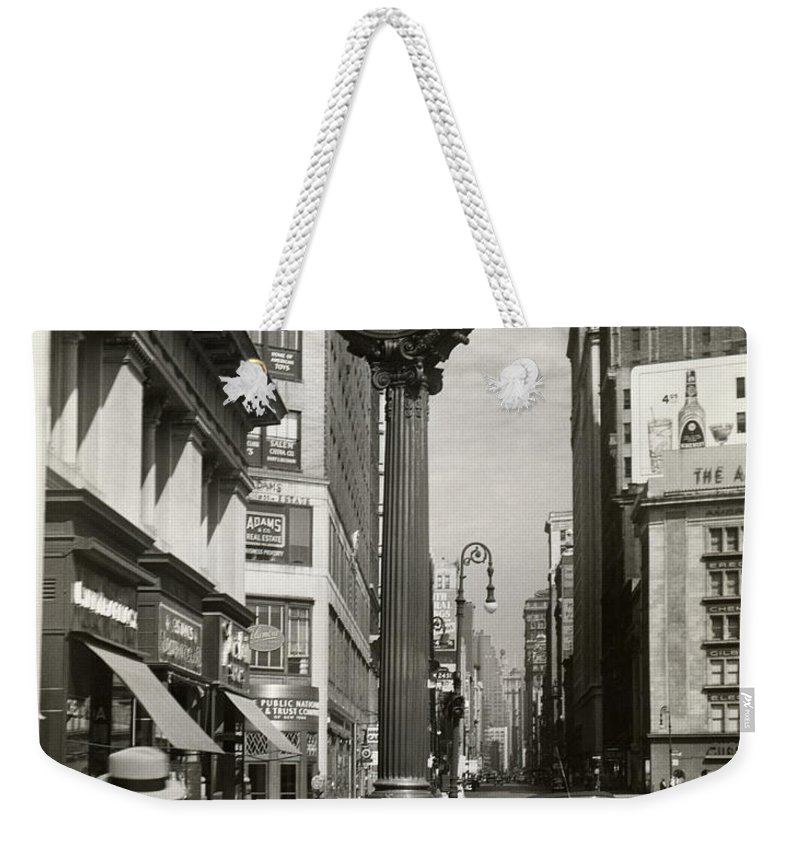 Public Mailbox Weekender Tote Bag featuring the photograph A Street Clock On Fifth Ave., Nyc by George Marks
