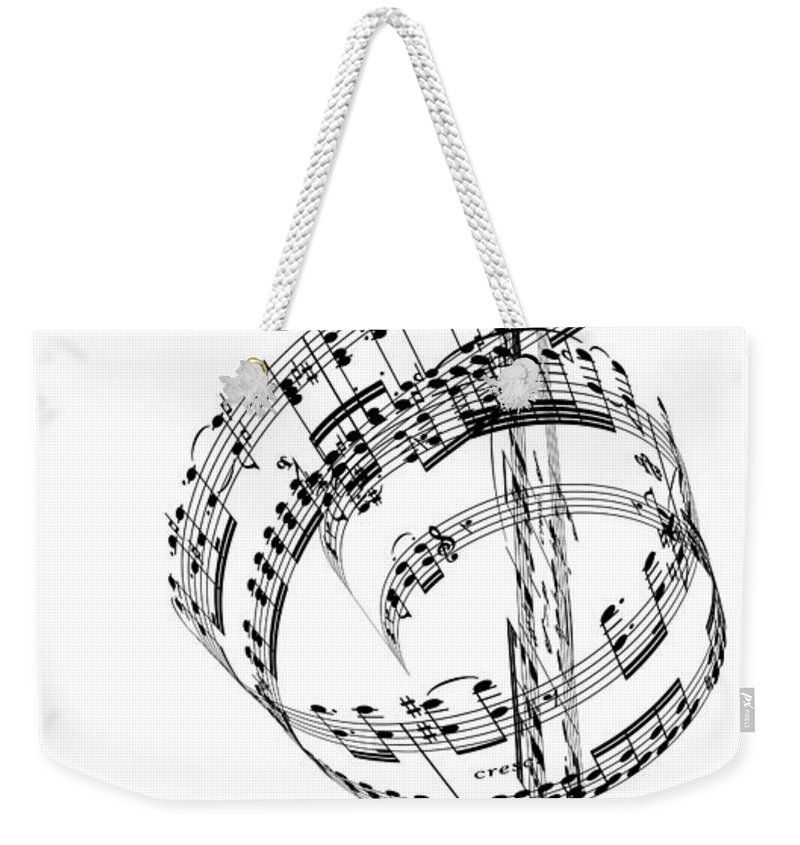 Sheet Music Weekender Tote Bag featuring the digital art A Treble Clef Made From Beethovens by Ian Mckinnell