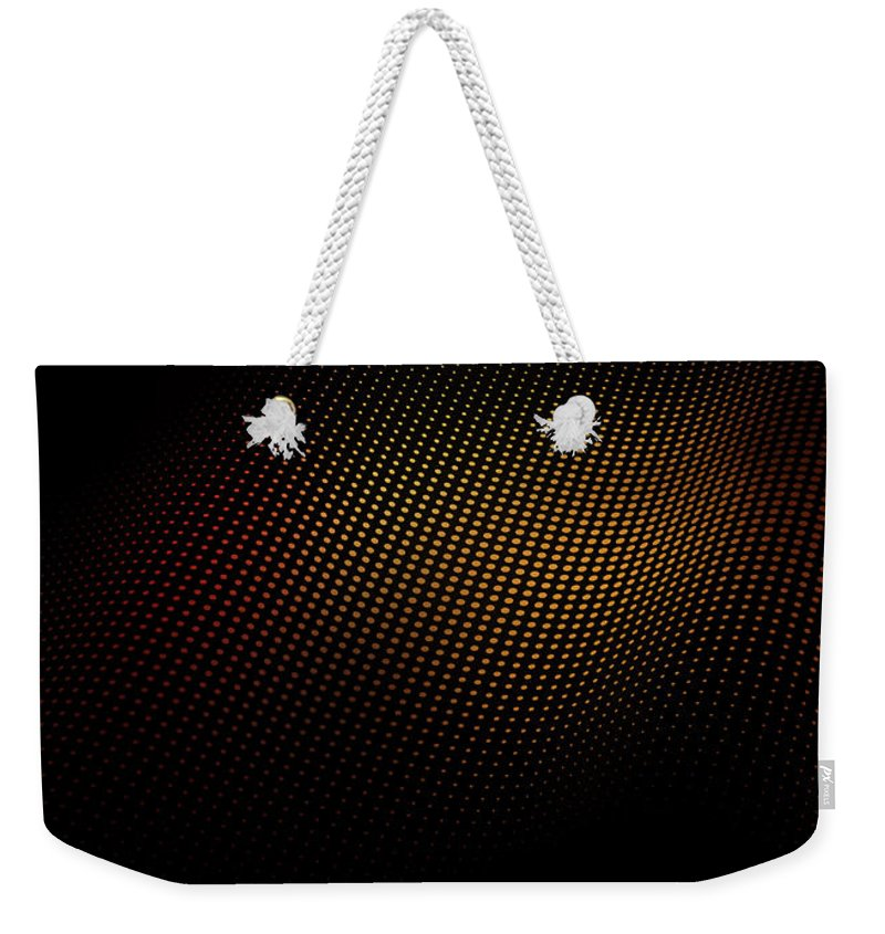 Shadow Weekender Tote Bag featuring the digital art A Wave Pattern Of Dots Over Shadow by Ralf Hiemisch