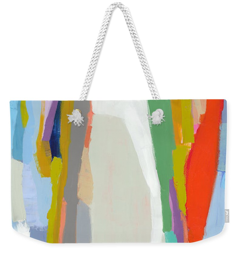 Abstract Weekender Tote Bag featuring the painting Aaron And His Greens by Claire Desjardins