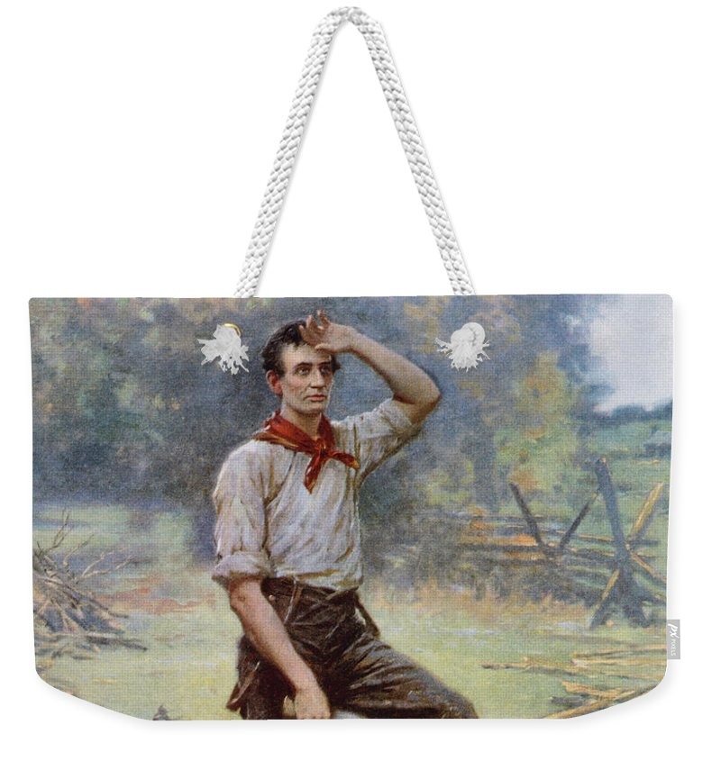 Abraham Lincoln Weekender Tote Bag featuring the painting Abe Lincoln The Rail Splitter by War Is Hell Store