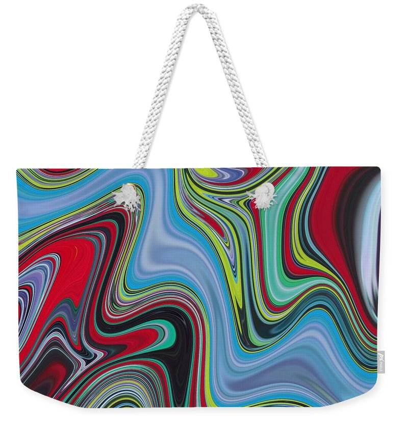 Abstract Weekender Tote Bag featuring the painting Abstract Art - Colorful Fluid Painting Marble Pattern Red And Blue by Patricia Piotrak