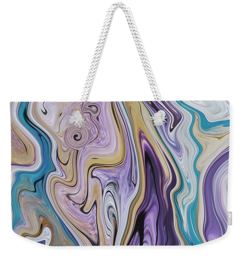 Abstract Weekender Tote Bag featuring the painting Abstract Art - Colorful Fluid Painting Pattern Turquoise And Beige by Patricia Piotrak