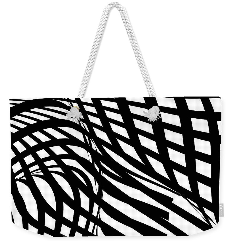 Curve Weekender Tote Bag featuring the digital art Abstract Black And White Stripe Shape by Shuoshu