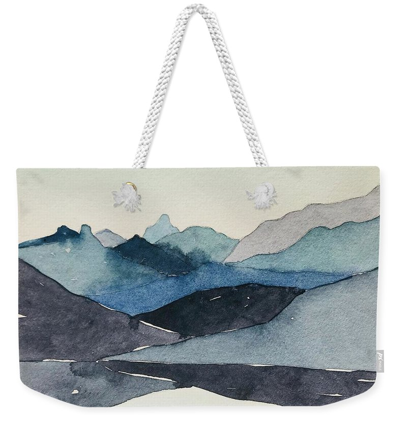 Blue Weekender Tote Bag featuring the painting Abstract Blue Hills by Luisa Millicent